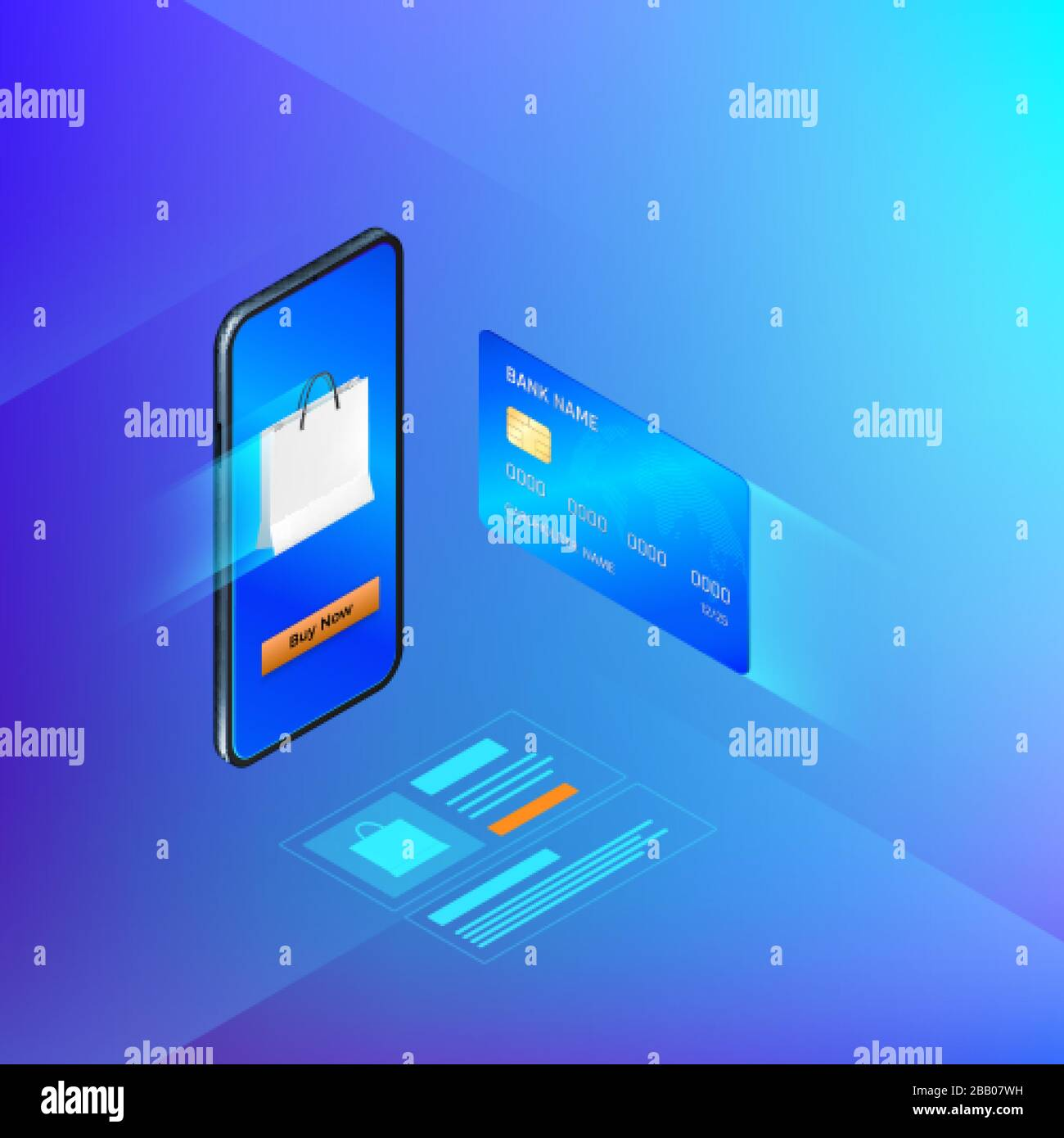 Banking Online Service In Mobile App Money Transfer Or Internet Shopping Concept Credit Card And Mobile Phone Vector Isometric Banner Stock Vector Image Art Alamy