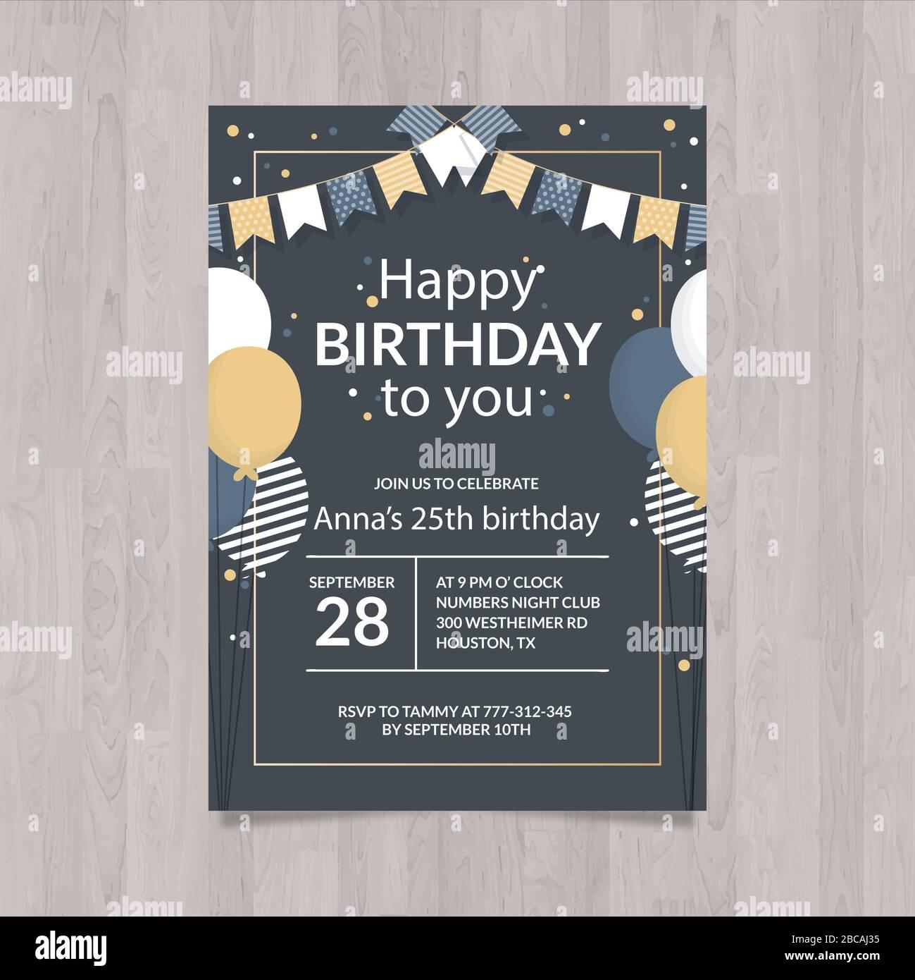 https www alamy com happy birthday invitation card template image351816953 html