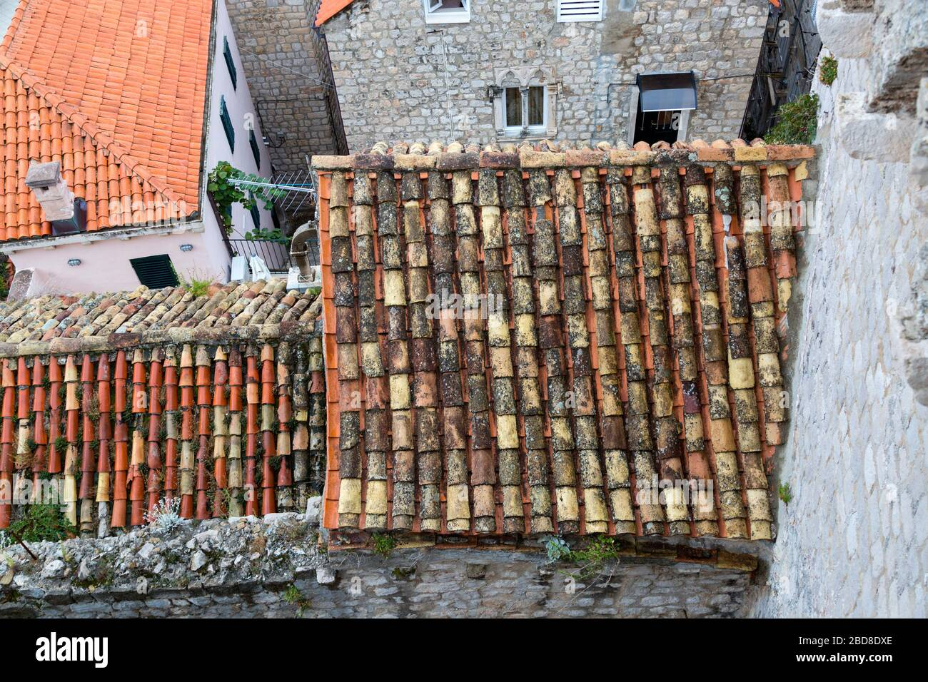 https www alamy com close up view from above of the rustic terra cotta roof tile in old town dubrovnik croatia image352384438 html