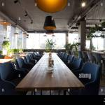 Long Table For Big Company In Cozy Cafe Interior Nobody Indoors Stock Photo Alamy