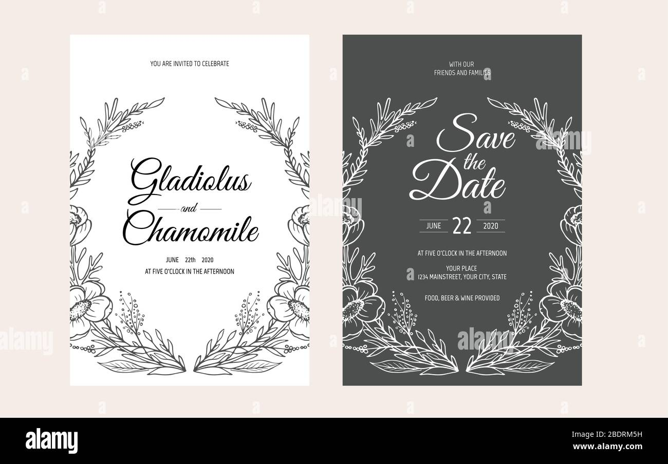 https www alamy com minimalist wedding invitation card template design template frame with delicate flowers branches plants image352718621 html