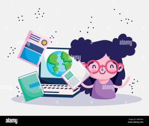 education online student girl with books world laptop study vector illustration Stock Vector Image & Art Alamy