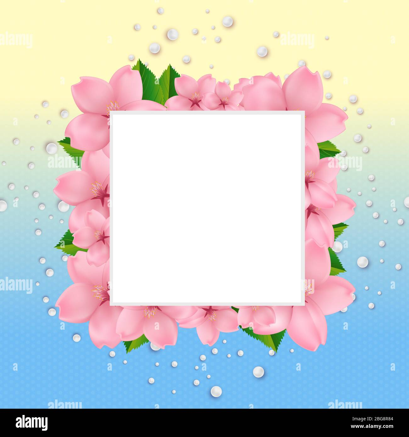 https www alamy com template for greeting wedding invitation card with refined composition of cherry blossom green leaves and white pearls on fresh bright yellow and blue background realistic cherry blossom design image354235732 html