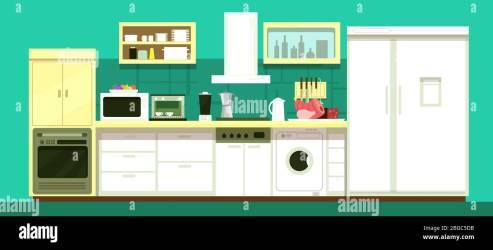Nobody cartoon kitchen room vector interior Illustration of kitchen interior furniture for dining Stock Vector Image & Art Alamy