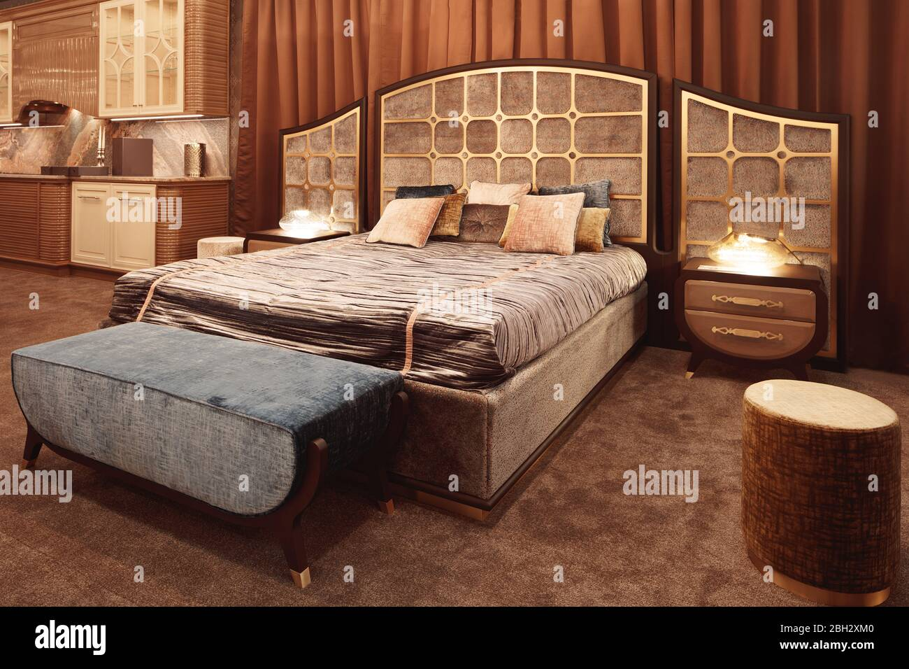 Hotel Service Concept Luxurious Bedroom With Bed And Bedside Tables And A Mirror Concept Interior Home Comfort Hotel Stock Photo Alamy