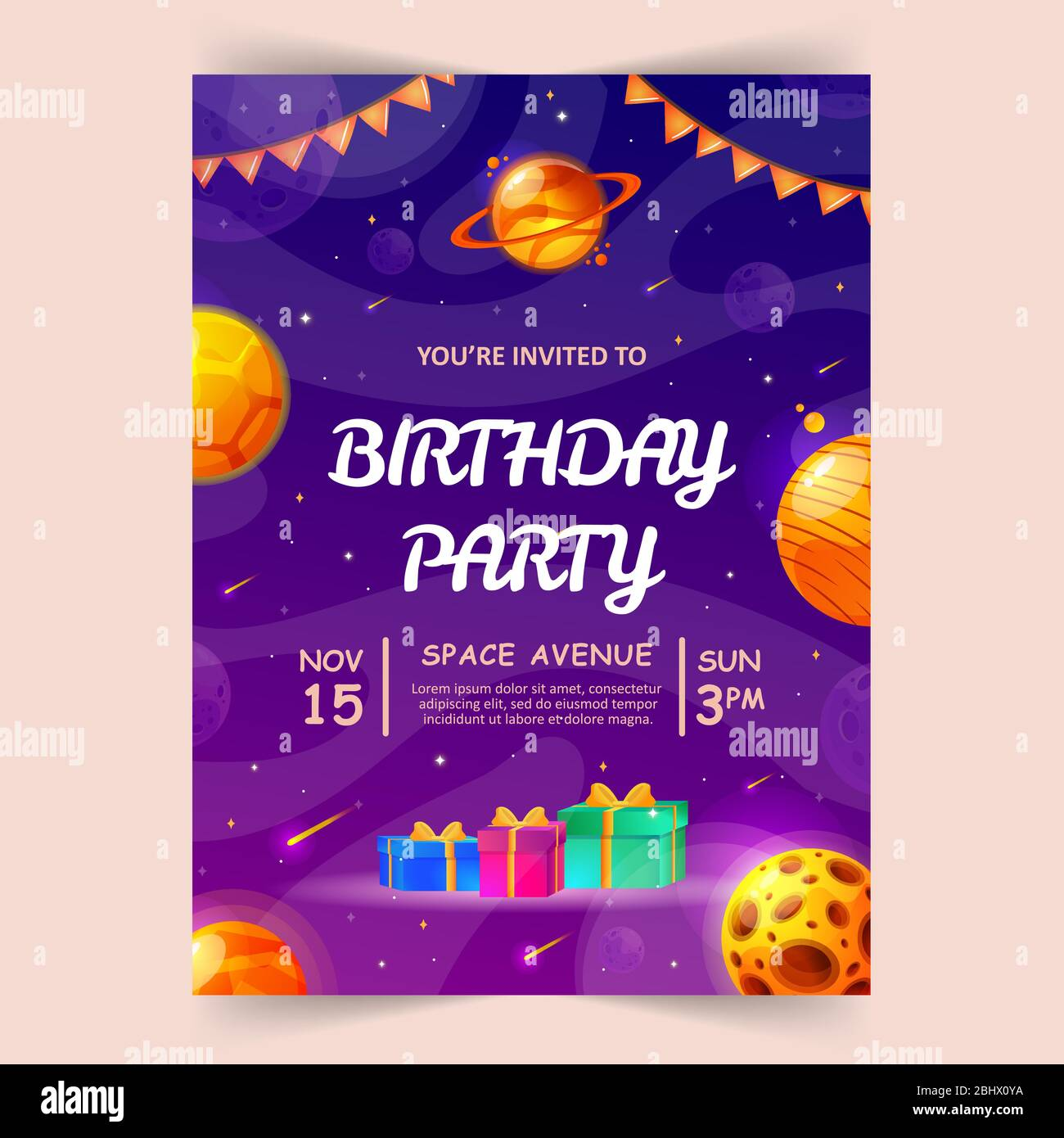 https www alamy com kids birthday party invitation card with cute little planets space universe and sky background vector illustration image355228030 html