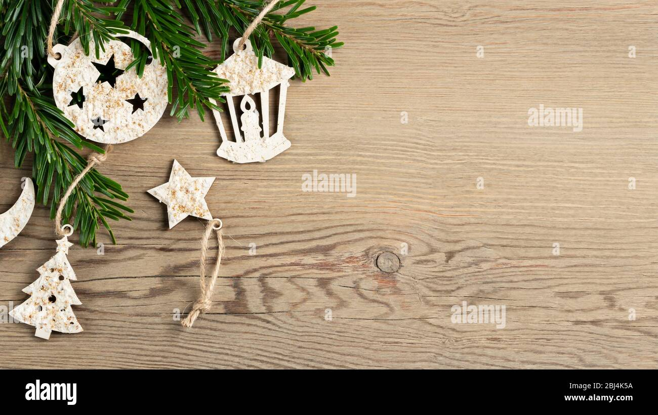 Hand Made Christmas Decorations And Christmas Tree Branches On A Wooden Table Template For Design In Eco Style Copy Space Stock Photo Alamy