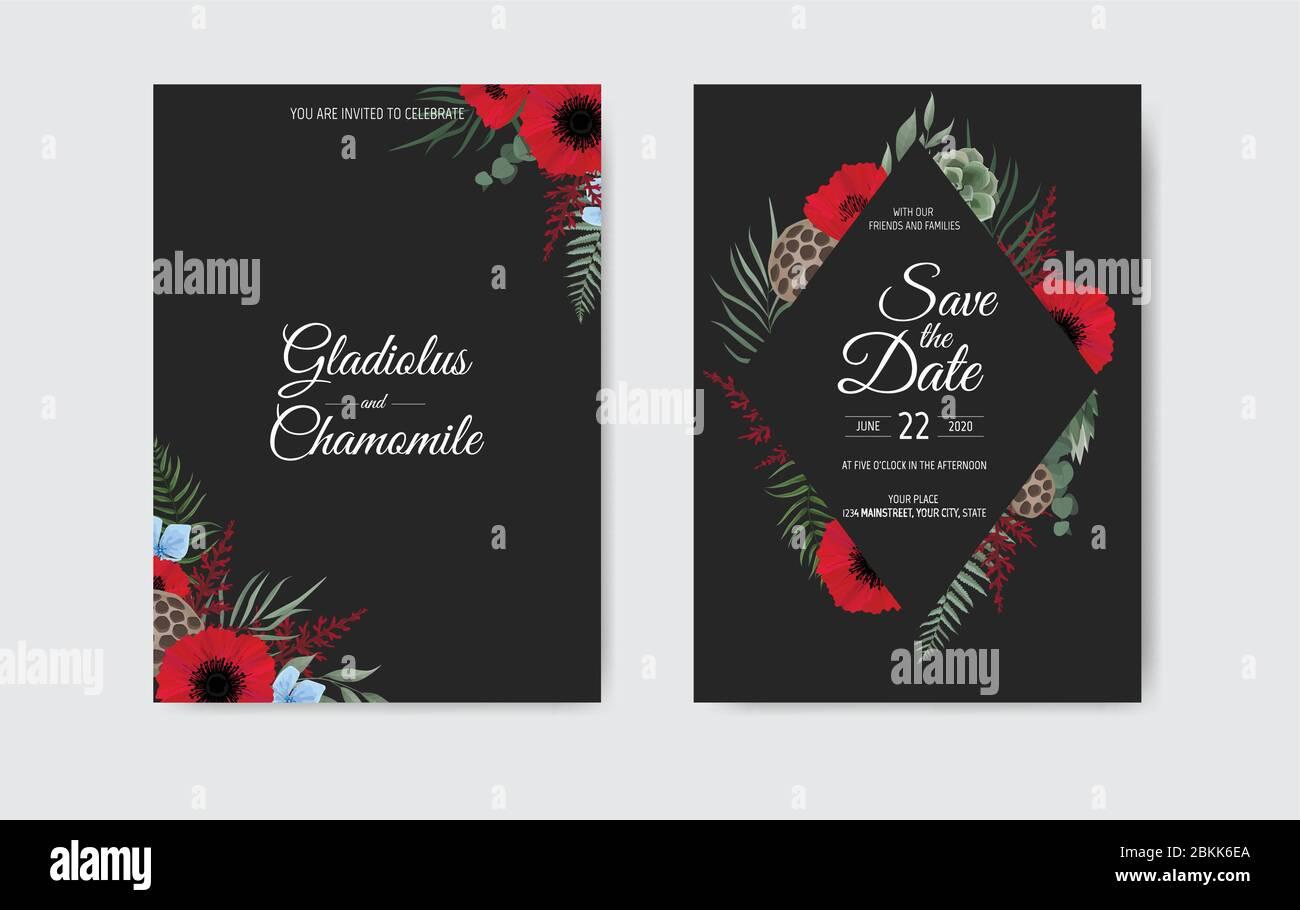https www alamy com botanical wedding invitation card template design white and pink flowers on black background image356308018 html