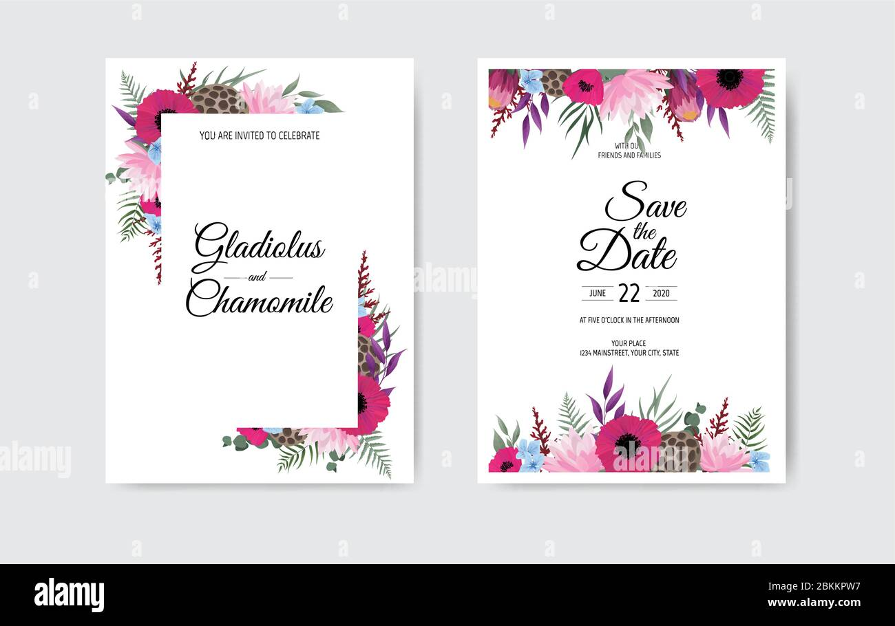 https www alamy com botanical wedding invitation card template design white and pink flowers on white background image356320867 html