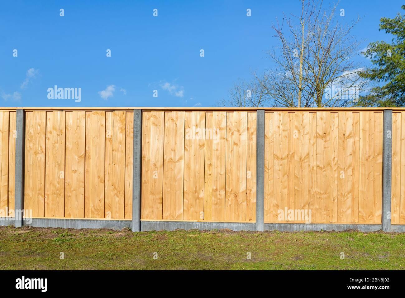 Built New Horizontal Wooden Fence Construction In Dutch Backyard Stock Photo Alamy
