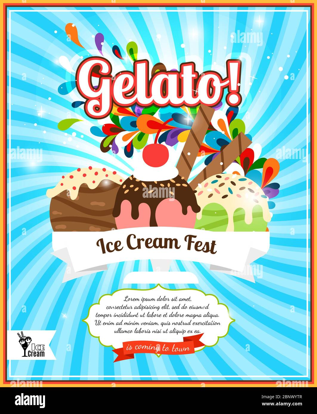 https www alamy com ice cream fest colorful poster on blue vector illustration image357685799 html