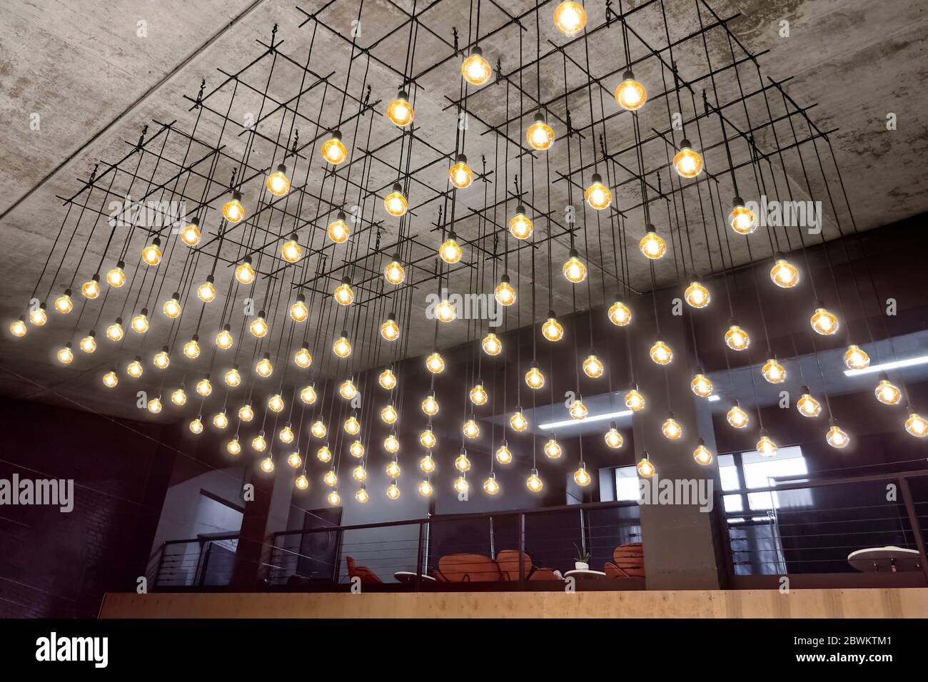 https www alamy com ceiling lamps background interior of modern house grey faded background yellow lights of bulbs soft light equipment unusual background modern image360010225 html