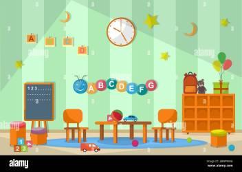 Kindergarten Classroom Interior Children Kids School Toys Furniture Vector Illustration Stock Vector Image & Art Alamy