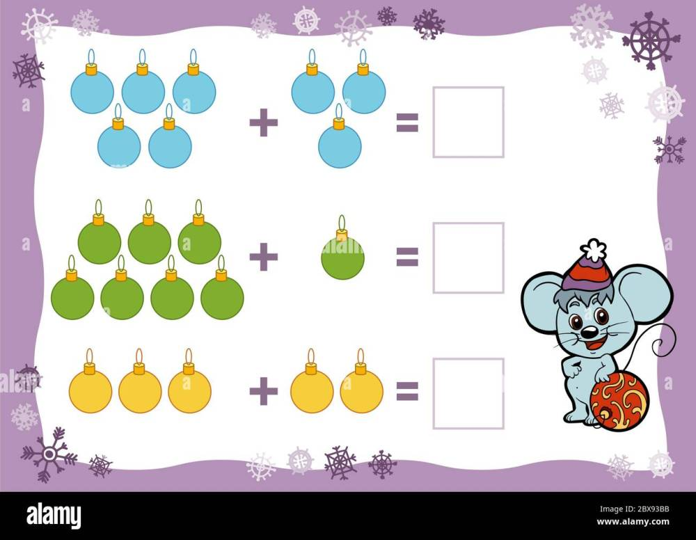medium resolution of Counting Game for Preschool Children. Addition worksheets. Christmas toys.  Educational a mathematical game. Count the numbers in the picture Stock  Vector Image \u0026 Art - Alamy