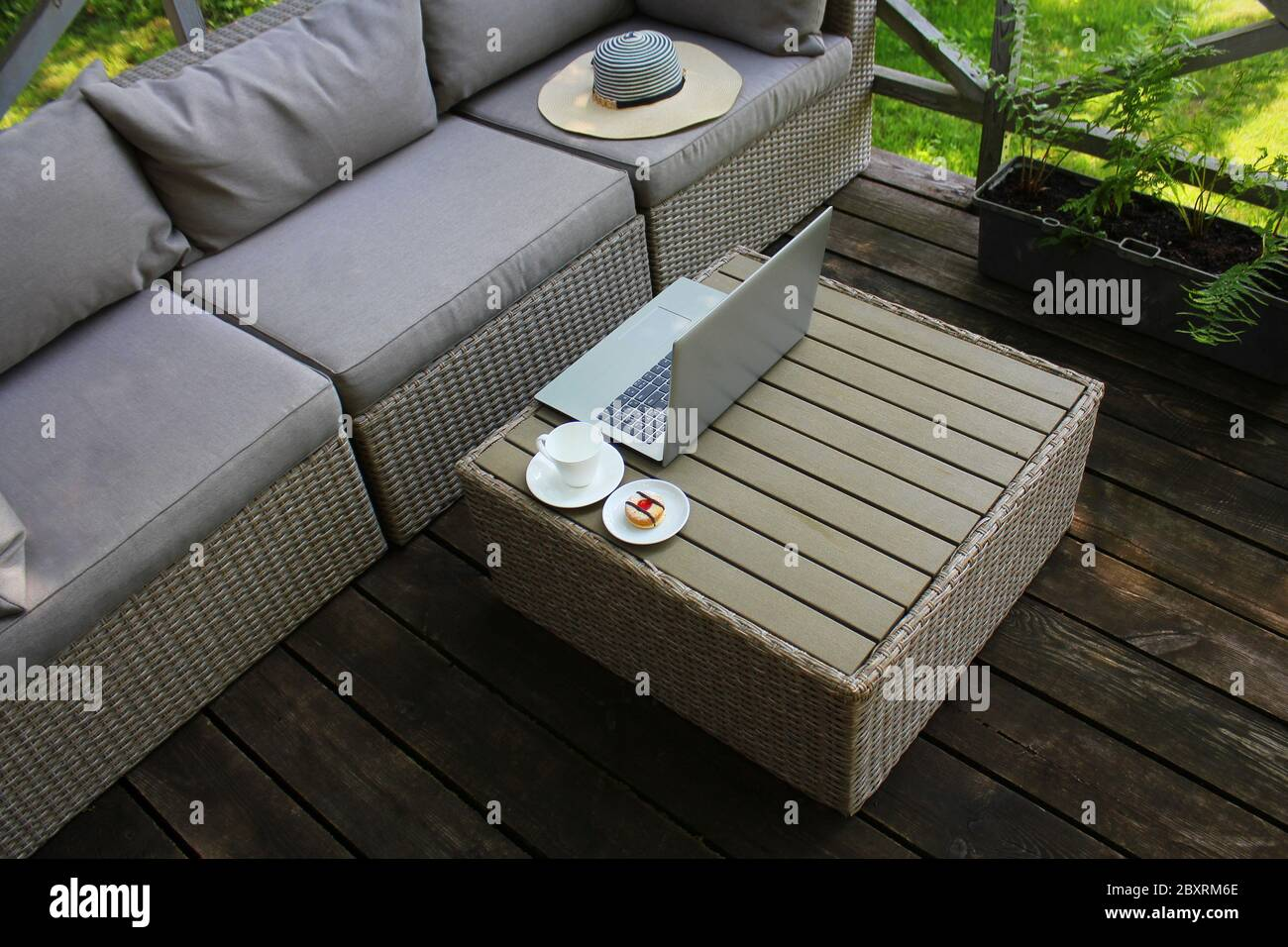 https www alamy com outdoor furniture lounge group with chairs sofa and table in a patio seating on the balcony is a recreation place image360709174 html