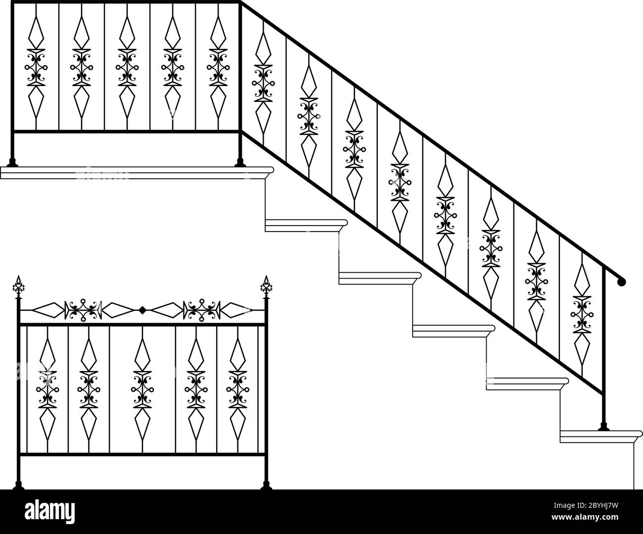 Wrought Iron Stair Railing Design Vector Art Stock Vector Image   Stairs Railing Designs In Iron   Rot Iron Staircase   Vertical   Stairway   Grill   Modern