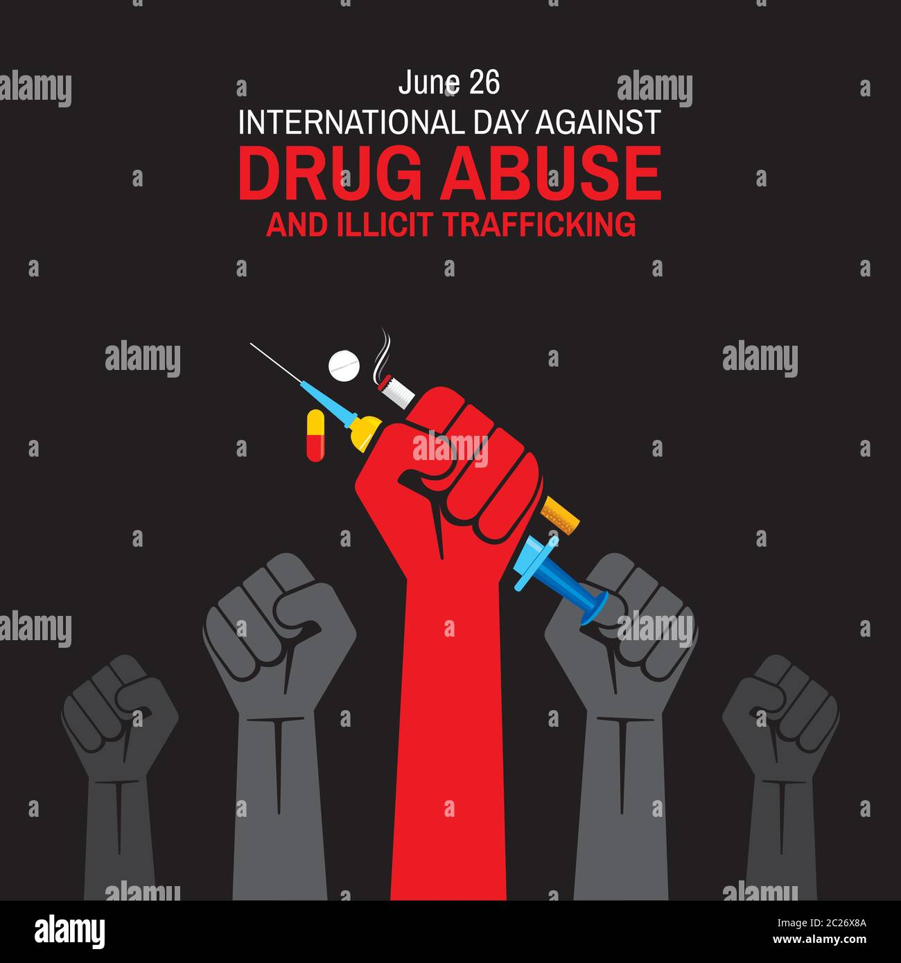 https www alamy com vector illustration of international day against drug abuse and illicit trafficking poster and banner design image362799370 html