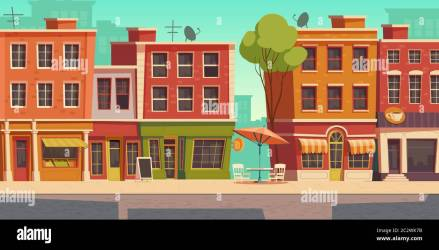 Urban street landscape with small shops and residential buildings cartoon vector background Cityscape with pavement facades of cafes restaurant an Stock Vector Image & Art Alamy