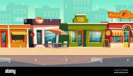 Urban street landscape with small shops and residential buildings in background cartoon vector Cityscape with pavement facades of cafes restaurant Stock Vector Image & Art Alamy