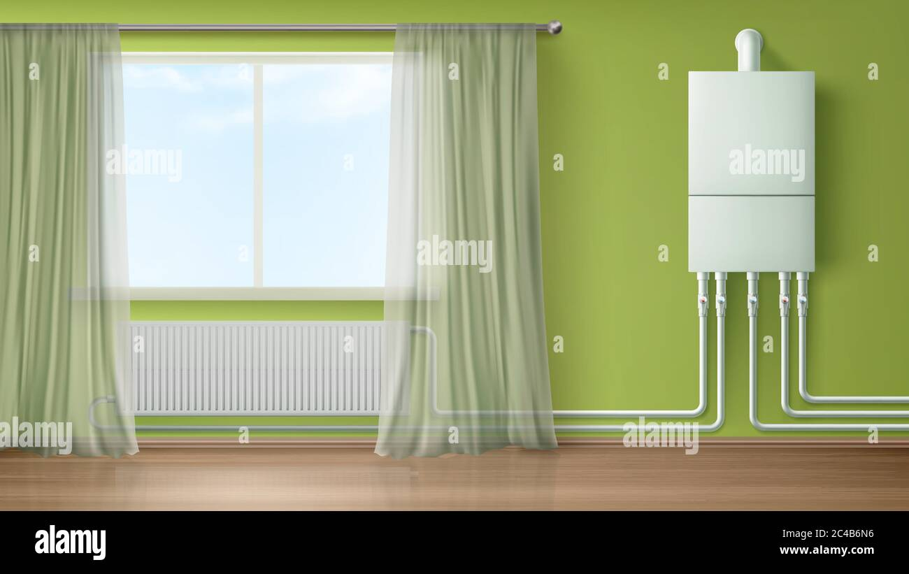 https www alamy com boiler water heater on wall connected with radiator in room with plastic tubes and curtained window home appliance for comfort modern central heating system equipment realistic 3d vector illustration image364123122 html