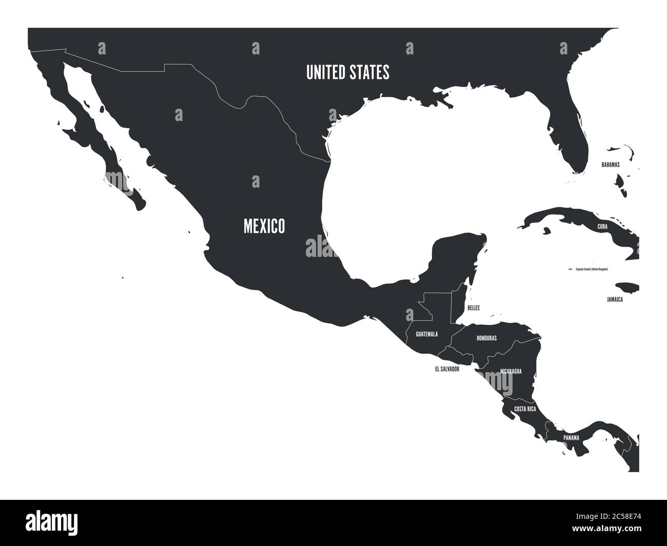 North South America Map Mexico High Resolution Stock