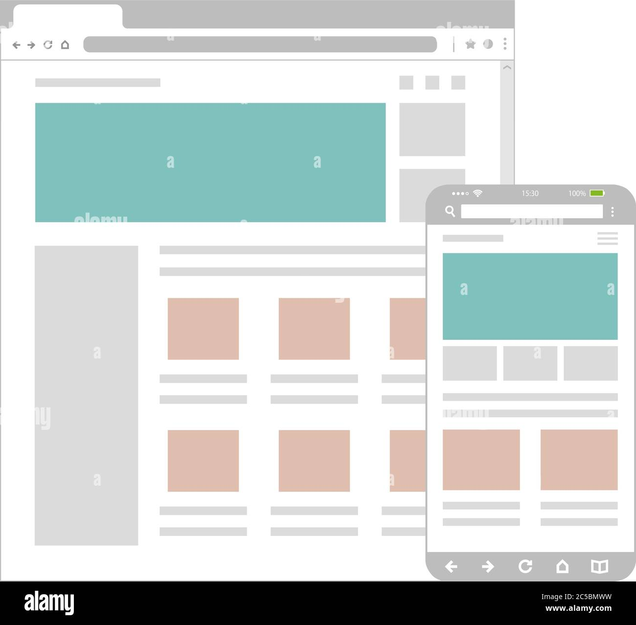 It only takes a few seconds to choose a basic template, insert text and images, and add the finishing touches. Web Pages Wireframe Layout Illustration Web Design Template For Pc Browser Smartphone Stock Vector Image Art Alamy