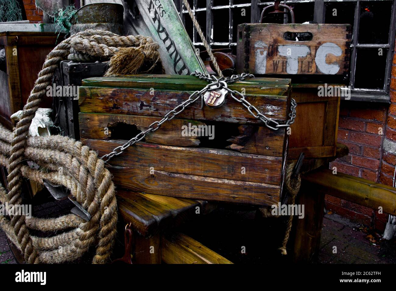 https www alamy com pirate chest a pirates bounty a pirates booty treasure chest rope chain lock wooden crate image365168821 html
