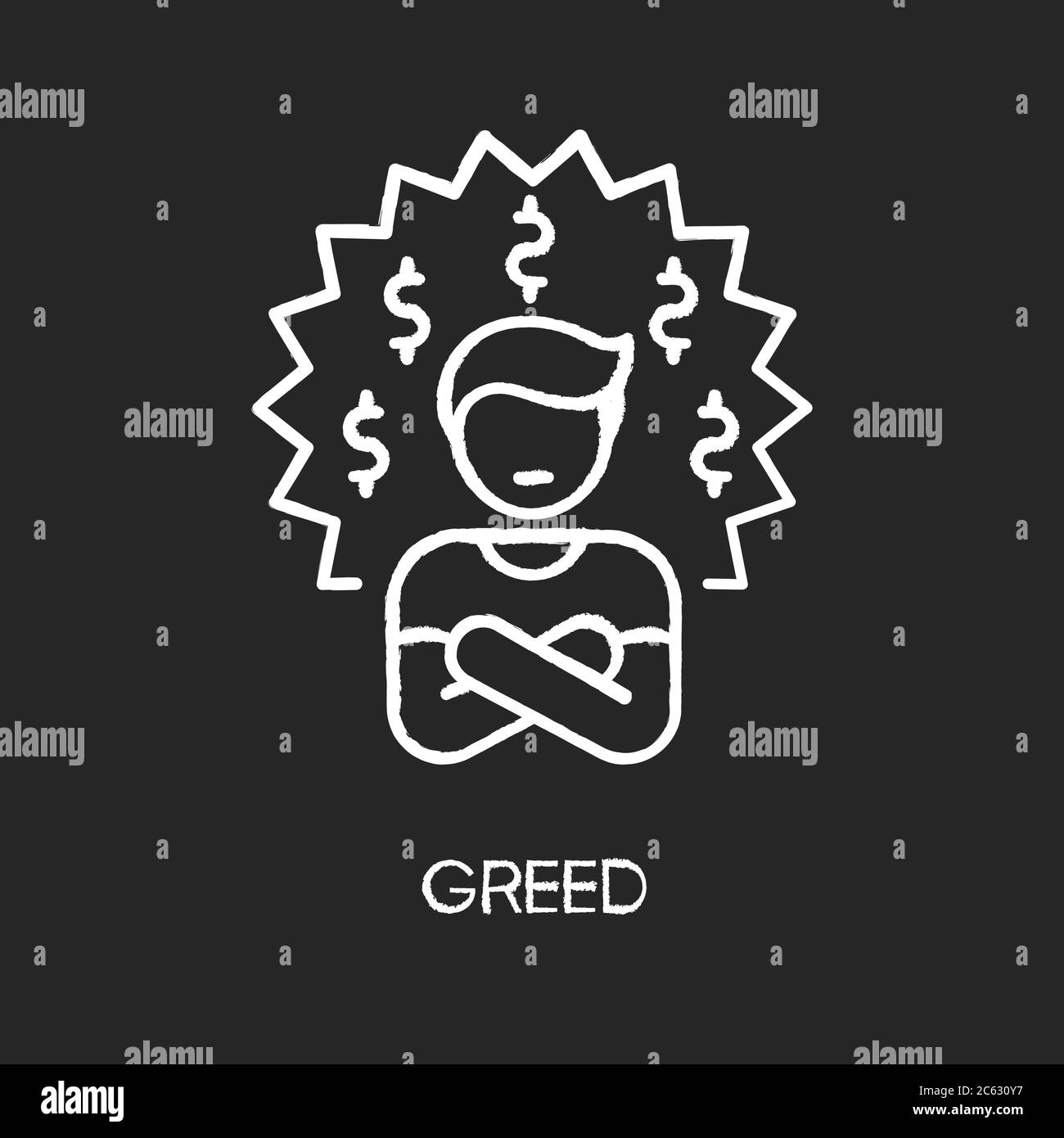 https www alamy com greed chalk white icon on black background image365172283 html