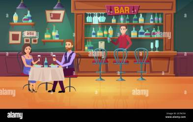 Couple people in bar vector illustration Cartoon flat man woman characters meeting dating drinking wine in restaurant interior barista barman standing at bar counter romantic dinner background Stock Vector Image & Art
