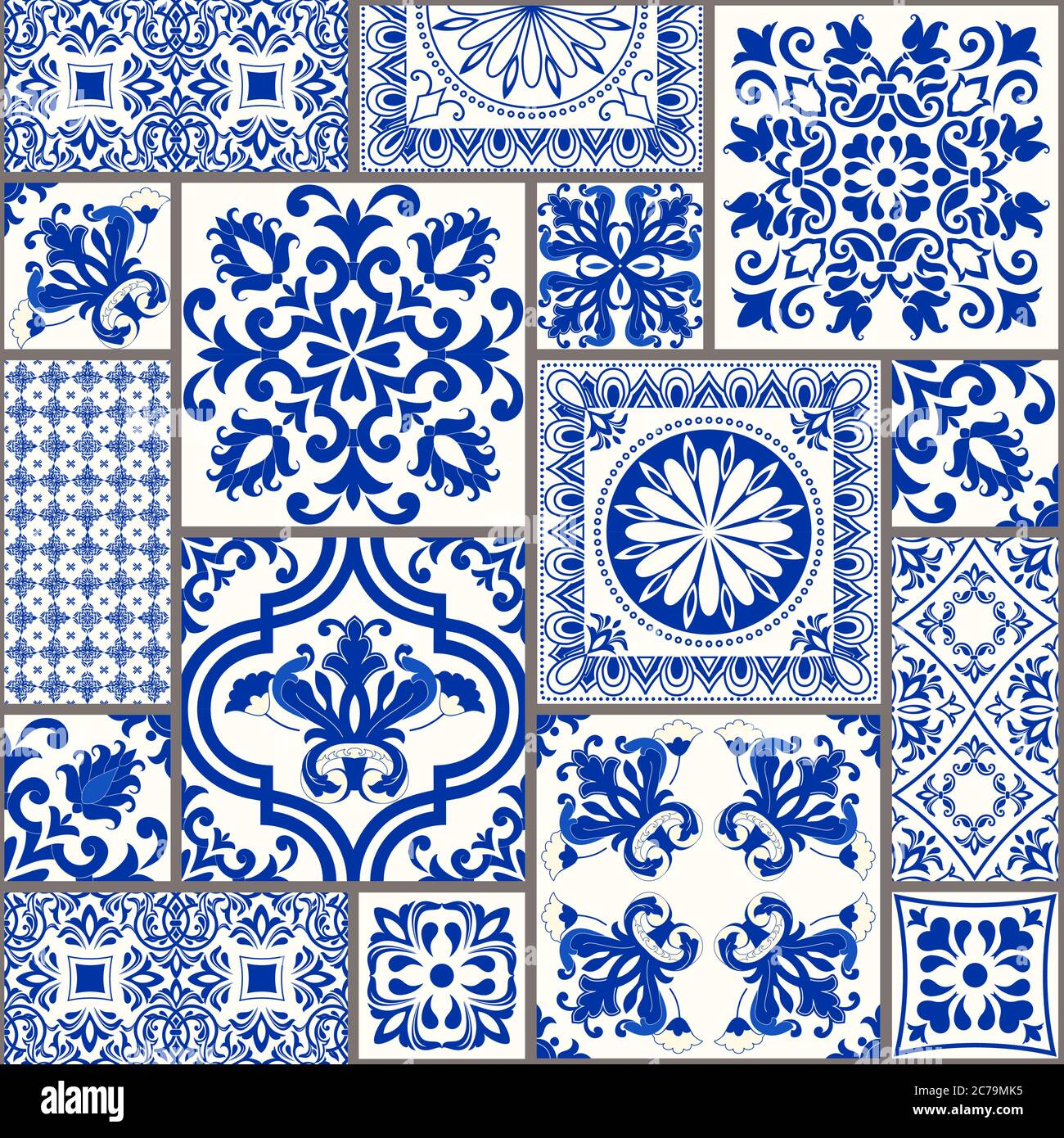 https www alamy com set of tiles azulejos in blue white original traditional portuguese and spain decor ceramic tile in talavera style gaudi mosaic vector image365934105 html