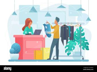 Man in clothing store flat vector illustration Buyer and seller cartoon characters Customer buying clothes in shop Shopping sales discount Retail outlet Shopper choosing apparel Stock Vector Image & Art Alamy