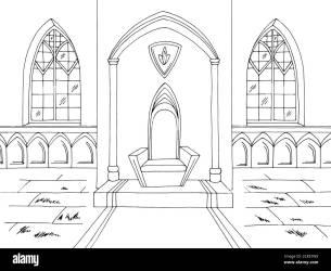 Throne room graphic castle interior black white medieval sketch illustration vector Stock Vector Image & Art Alamy