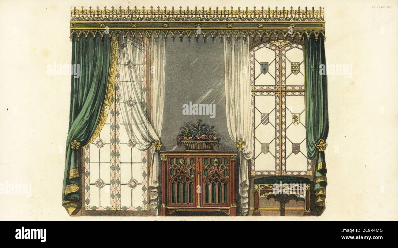 https www alamy com gothic window curtain curtain rod across the entire wall velvet curtains and transparent net curtains over the windows decorated with coats of arms cabinet and stool of carved wood and gilt handcoloured copperplate engraving from rudolph ackermanns repository of arts literature fashions manufactures etc strand london 1826 image366843584 html