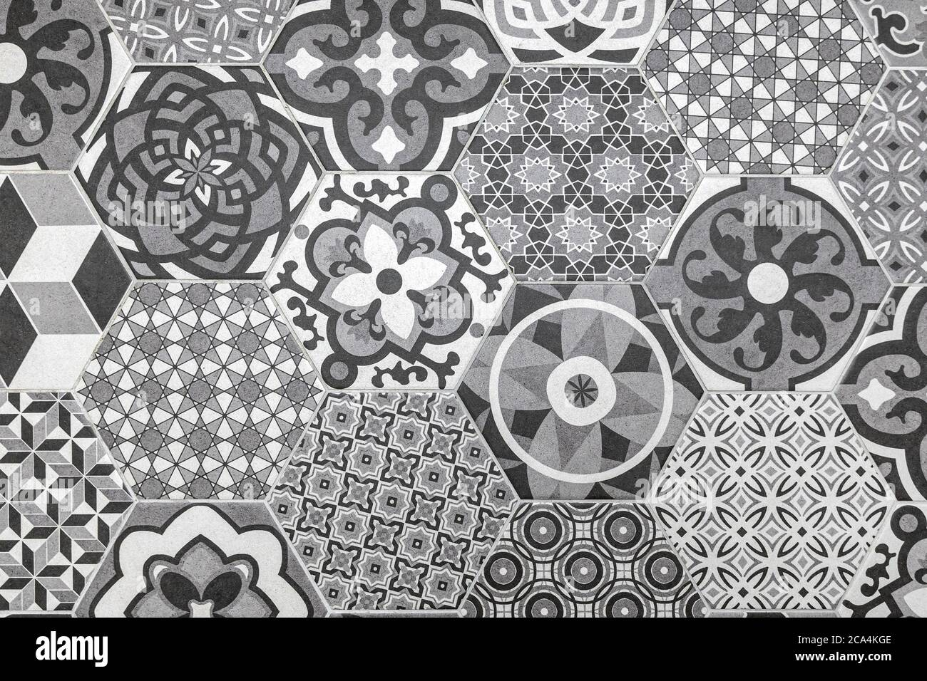 https www alamy com floral vintage hexagon tile pattern image367667454 html