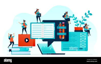 Vector illustration of e learning makes it easy for student to learn Distance learning with laptop and internet online home work courses and study Stock Vector Image & Art Alamy