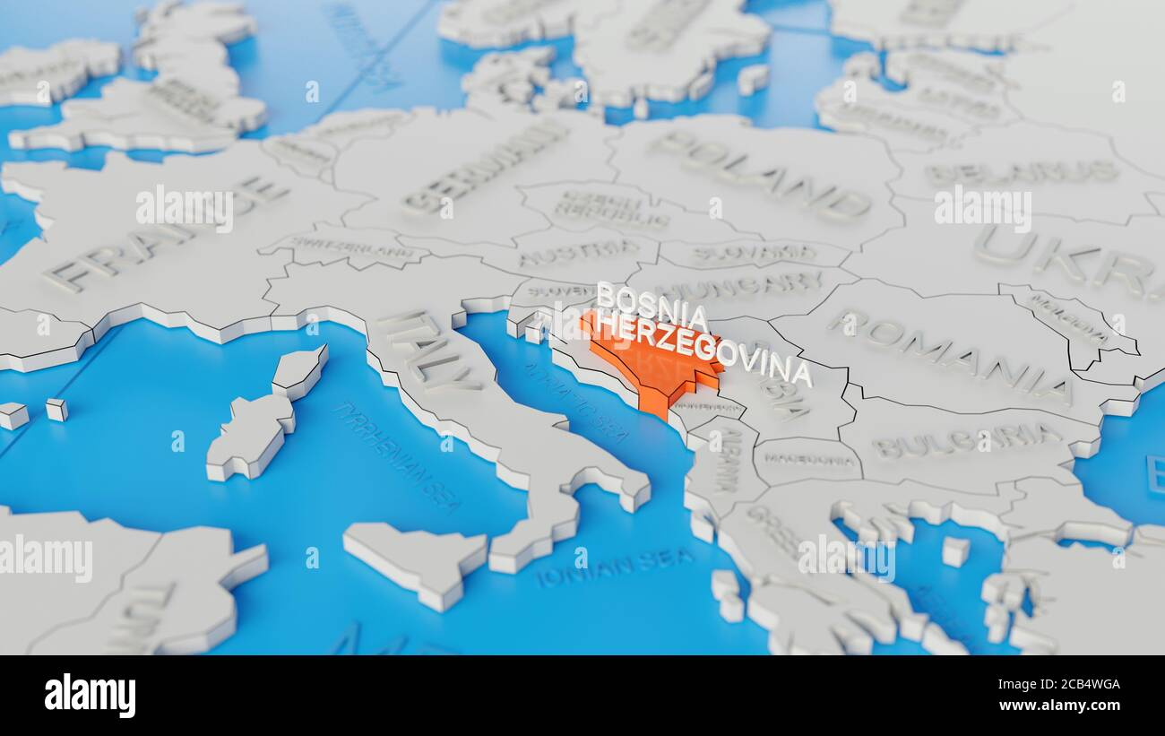 Bosnia And Herzegovina Highlighted On A White Simplified 3d World Map Digital 3d Render Stock Photo Alamy