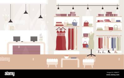 Woman fashion clothing shop boutique vector illustration Cartoon flat empty clothes shopping mall or store room interior with female fashionable dresses on hangers mannequin cashier desk background Stock Vector Image & Art