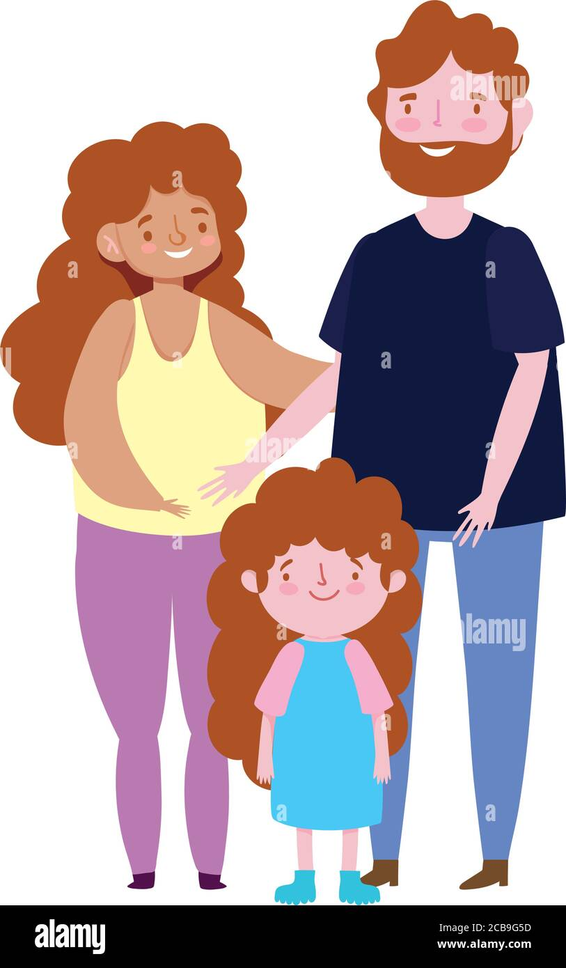 Mother And Father Cartoon : mother, father, cartoon, Cartoon, Parents, Daughter, Family, Resolution, Stock, Photography, Images, Alamy