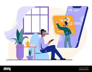 People study online vector illustration Cartoon flat man student character studying on training course watching lesson on smartphone screen distance education technology concept isolated on white Stock Vector Image & Art