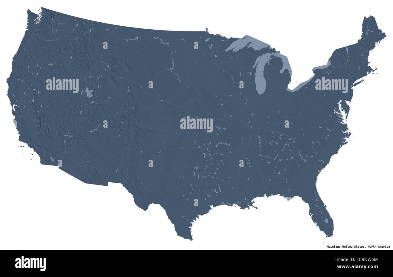 An elevation map reflects the elevation of the region being depicted; Shape Of Mainland United States With Its Capital Isolated On White Background Colored Elevation Map 3d Rendering Stock Photo Alamy