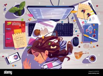 Woman sleep on workplace top view tired girl lying on messy office desk with rubbish spilled