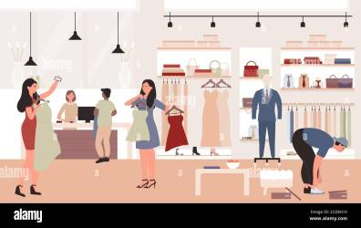 People shopping in clothing store vector illustration Cartoon flat man woman customer characters standing and trying new fashion casual dress clothes in boutique or shop showroom interior background Stock Vector Image &