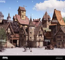 European medieval or fantasy town square architecture on a sunny day 3d render Stock Photo Alamy