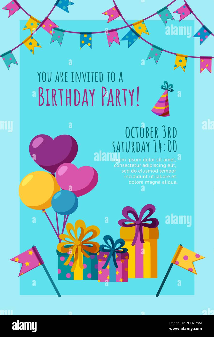 https www alamy com birthday invitation card ready made invitation design with presents balloons and flags colorful vector illustration in flat style image371116836 html
