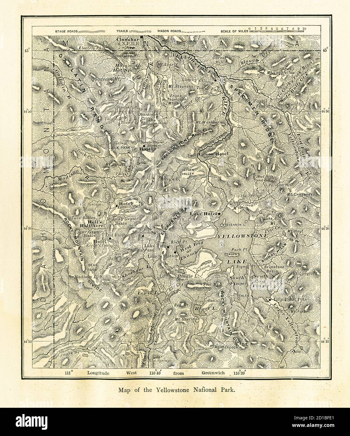 Wildlife, geothermal wonders, and the outdoors bring more than 4 million visitors to yellowstone national park each year. 19th Century Wood Engraving Of A Map Of Yellowstone National Park Located Primarily In The U S State Of Wyoming Illustration Published In Picturesq Stock Photo Alamy