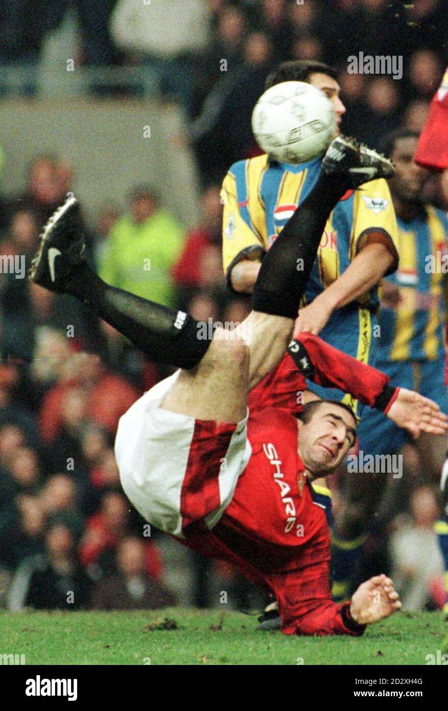 """I am not a role model"""" but for many of us that's precisely what he was and his response to. Manchester United S Eric Cantona Attempts An Overhead Kick On The Edge Of The Box During Their Match Against Southampton At Old Trafford Stock Photo Alamy"""