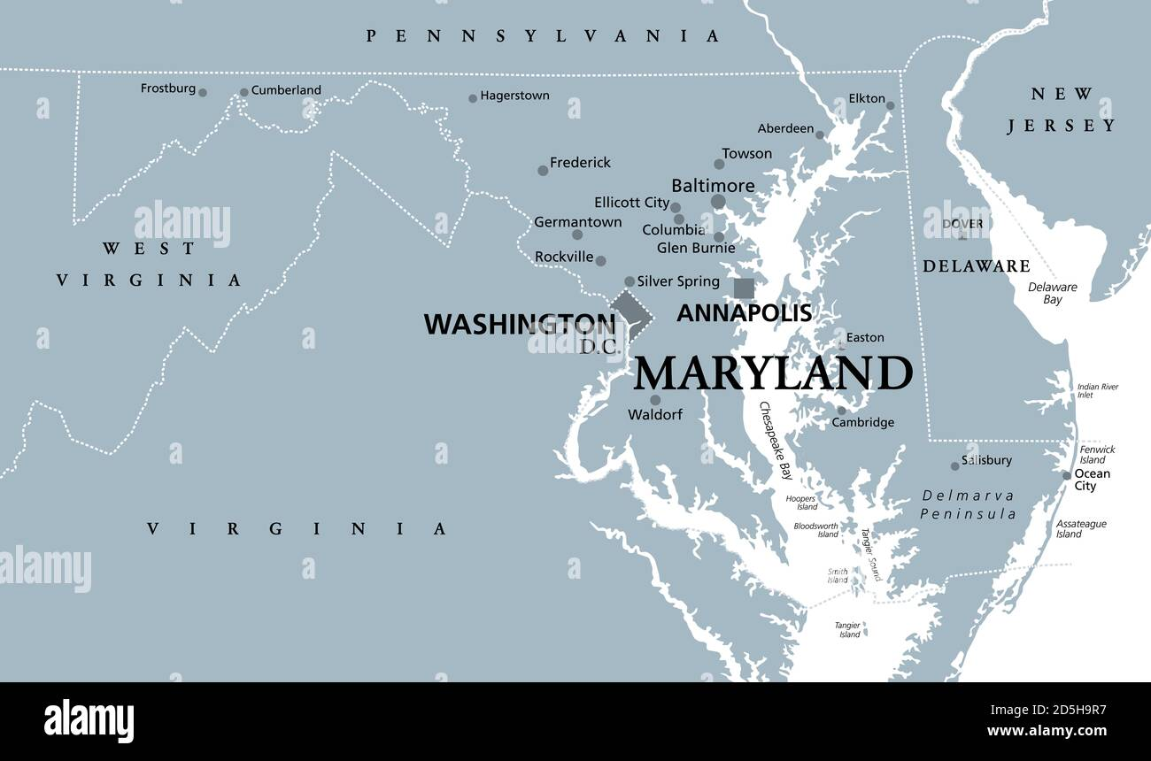 Did you know that here in maryland an estimated 623,000 people, or 12.6% of the population, now have diabetes. Maryland Md Gray Political Map State In Mid Atlantic Region Of United States Of America Capital Annapolis Old Line State Free State Stock Photo Alamy
