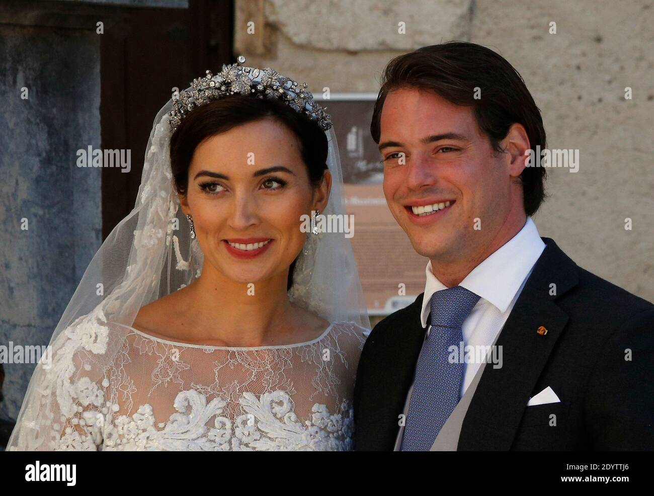 https www alamy com prince felix and princess claire of luxembourg leave the sainte marie madeleine basilica after their religious wedding in saint maximin la sainte baume southern france on september 21 2013 photo by abacapresscom image395769982 html