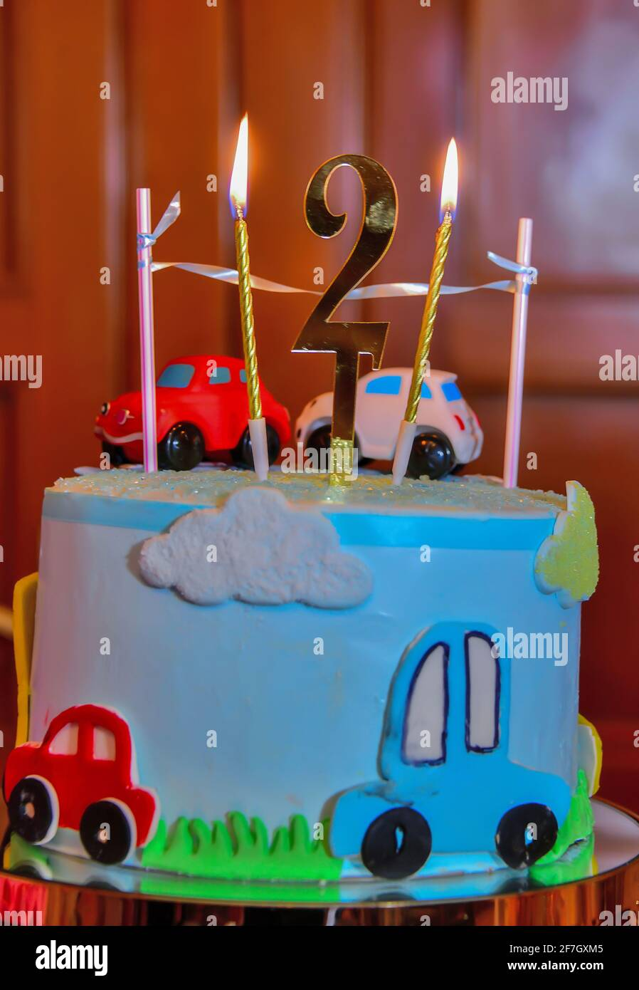 Car and truck cake tutorial by my cake school! Children S Colorful Fondant Birthday Cake Decorated With Little Cars And Number Two On The Top Stock Photo Alamy