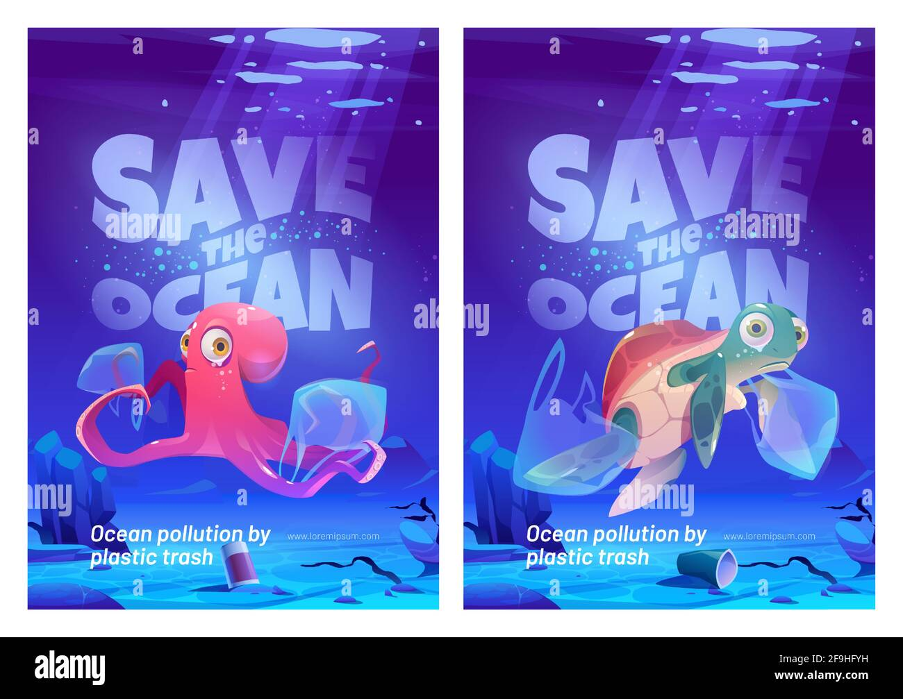 https www alamy com save ocean cartoon posters with underwater animals and trash in sea water pollution with plastic ecological problem unhappy octopus and turtle on dirty polluted bottom covered with garbage vector image418966453 html